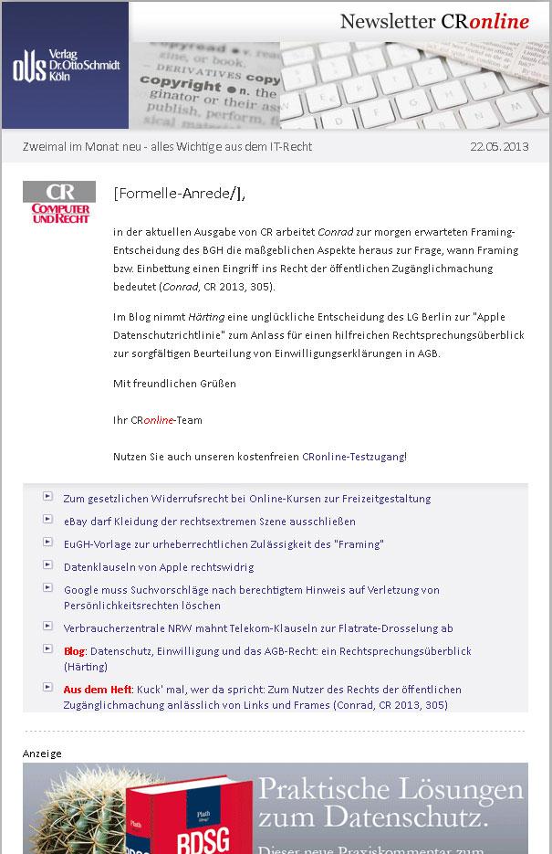 CR-online.de - Newsletter abonnieren - Ein Angebot des Verlages Dr ...