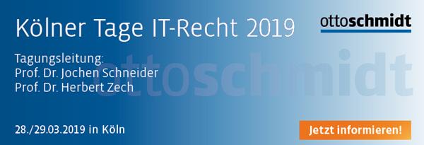 Kölner Tage IT-Recht - 28./29.03.2019. Hier informieren und anmelden!